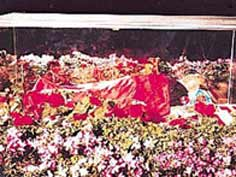 The body of North Korean leader Kim Il Sung in a glass casket