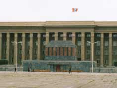 Sukhbaatar mausoleum in front of the Mongolian Government Palace