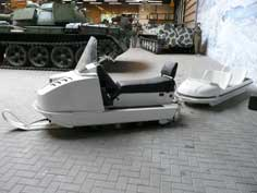Soviet army snowmobile with a trailer to carry four extra troops