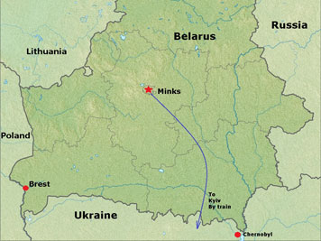 A map of Belarus a land locked country between four countries