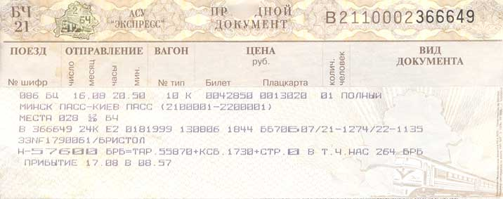 Train ticket of the Belarus Railways from Minsk to Kiev