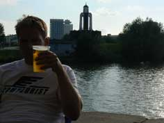 Enjoying a beer in front of the Island of Tears in Minsk Belarus