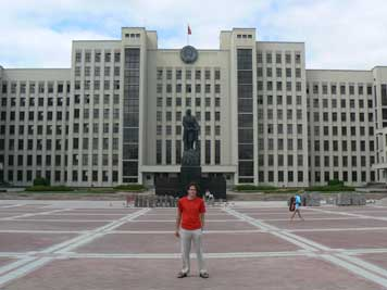 Belarus House of Parliament with a Lenin statue in Minsk