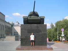 A Soviet T-34 tank as Word War II memorial in Minsk Belarus