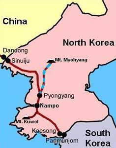 The route by car from Pyongyang to Mount Myohyang in North Korea