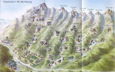 Tourist map of Mount Myohyang with the Friendship Exhibition