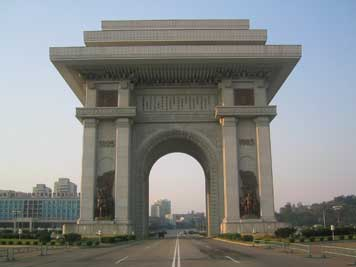 The 60 meters high Arc of Triumph in the Pyongyang city centre