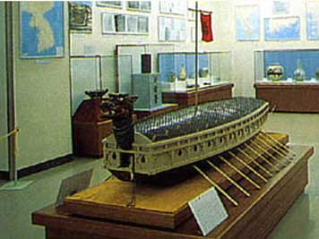 Museum model of a ancient Korean turtle ship named Geobukseon