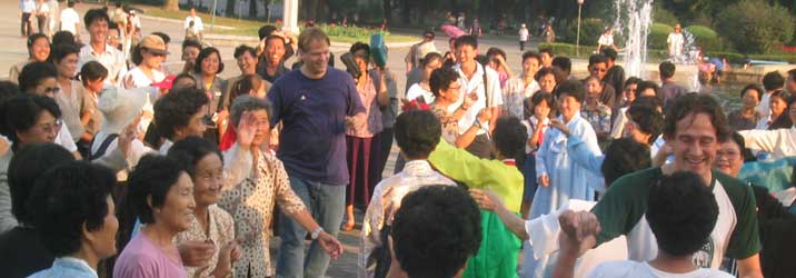 Dancing with Korean ladies on national day in Morangbang park