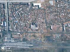Satellite image of Ryongchong after the train explosion