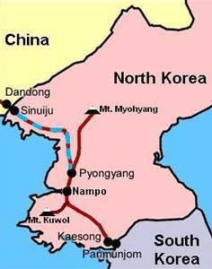 Map of the route by train from Pyongyang to Sinuiju border