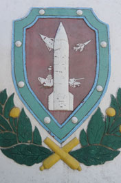 Base emblem near the entrance of the main building on the missile base