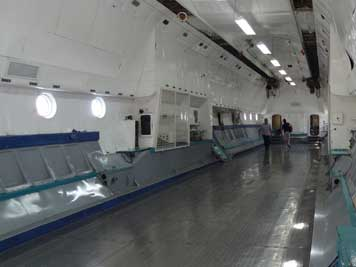 The cargo bay of the giant An-22 that is mainly used for Military Transport purposes by the Russian army