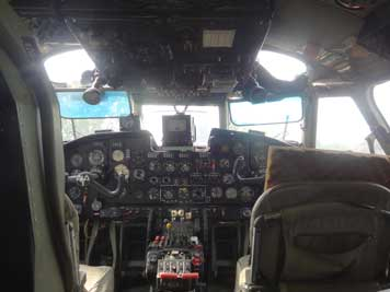 Cockpit of the An-26, built in 1980 for the East German government with two turboprop engines