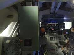 Cockpit of the Buran space shuttle with computers and instruments that were state of the art during the 1980s