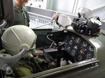 View inside the cockpit of the MiG-15 simulator that was probably used in a fly school of the Soviet Air Force