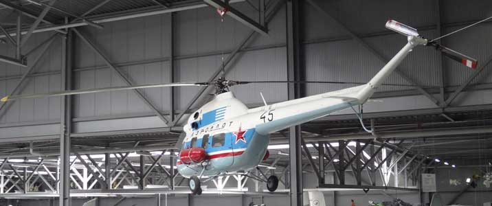 Mil Mi-2 helicopter from the Soviet Air Force painted in Aeroflot scheme displayed in the Space Exhibition hall