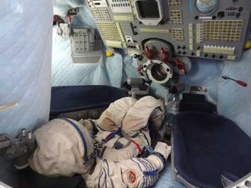 Cockpit of the Soyuz TM spacecraft that was used for ferry flights to the Mir space station, the capsule can transport up to 3 cosmonauts