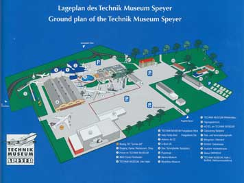 Map of the Technik Museum Speyer where the exhibits are displayed both in and outside