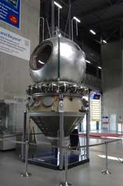 Reproduction of the Vostok 3KA spacecraft that was used for the first human spaceflight carrying Yuri Gagarin on April 12, 1961