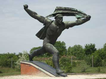 The striding soldier by Istvan Kiss from 1969 in Szobor park