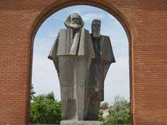 Statue of Karl Marx and Friedrich Engels in Szoborpark in Budapest